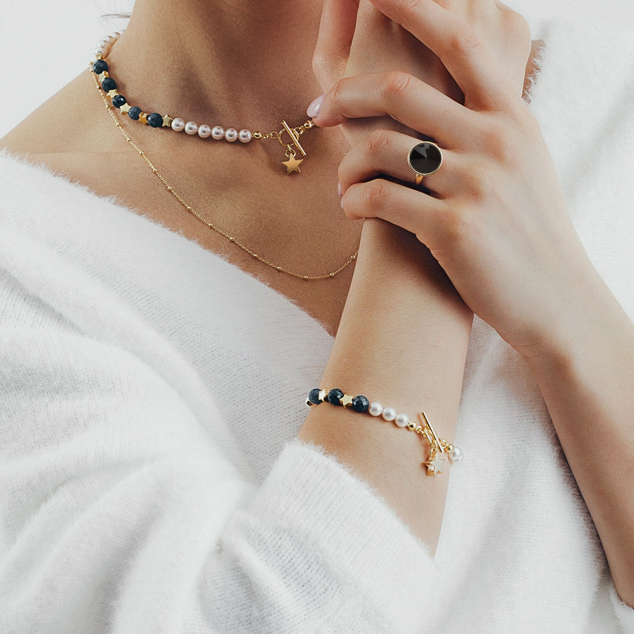 Szafirowa bransoletka z perłami i gwiazdkami, srebro 925