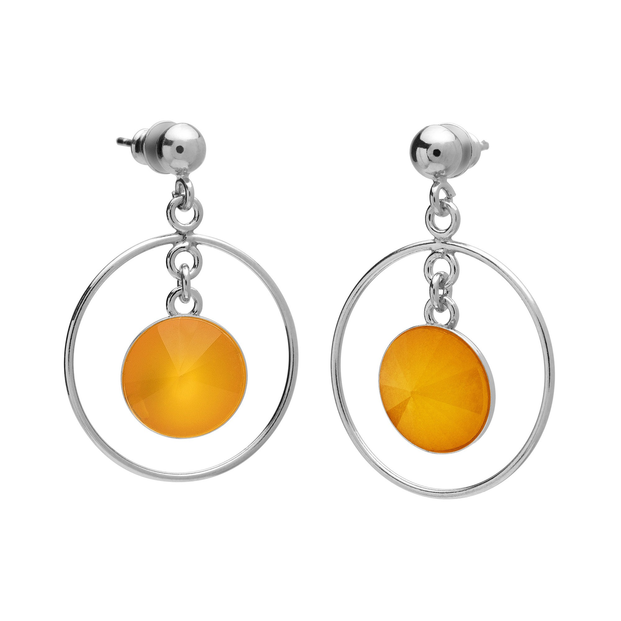 Round earrings with natural stone, 925