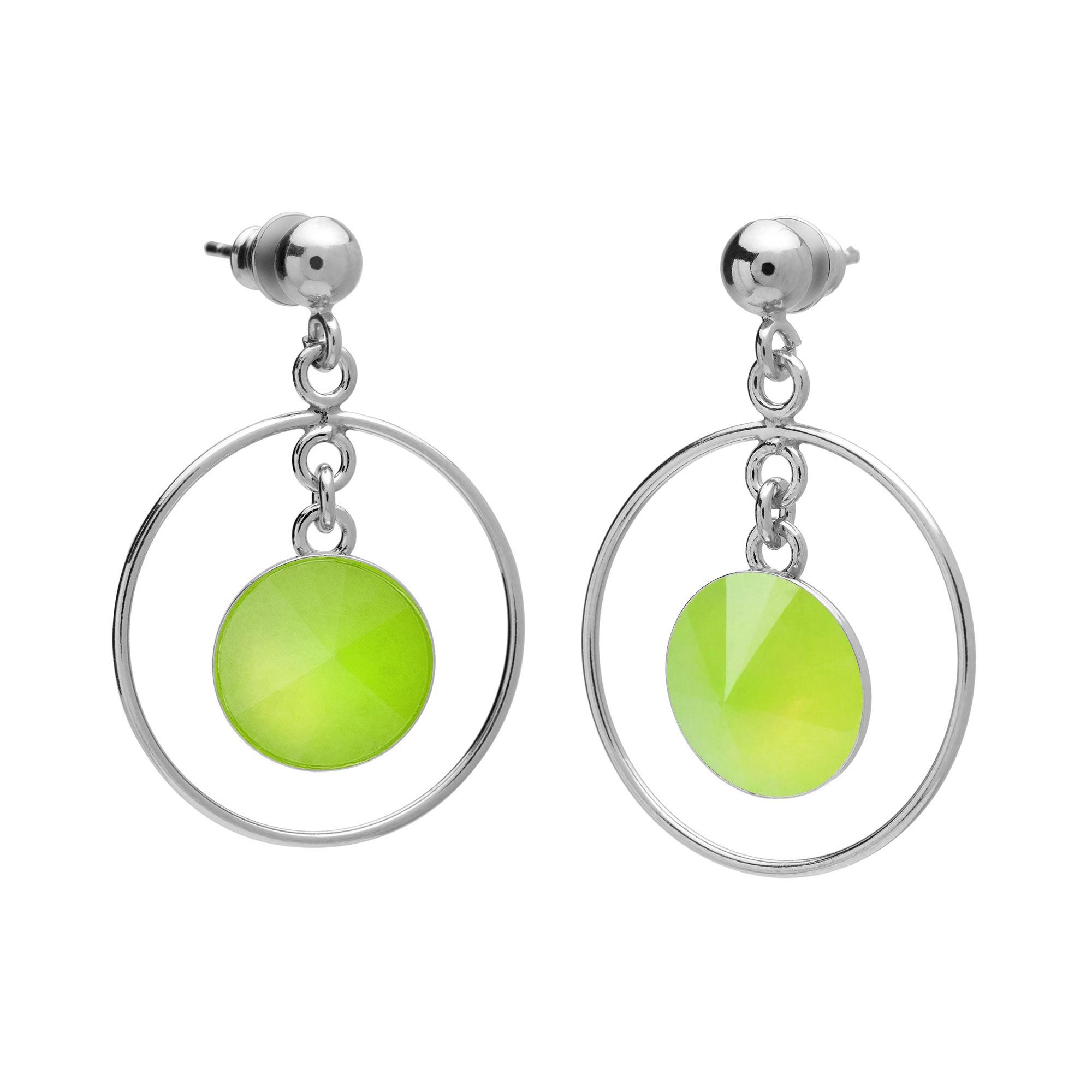 Okrągłe kolczyki z naturalnym kamieniem, chryzopraz jasny zielony, srebro 925