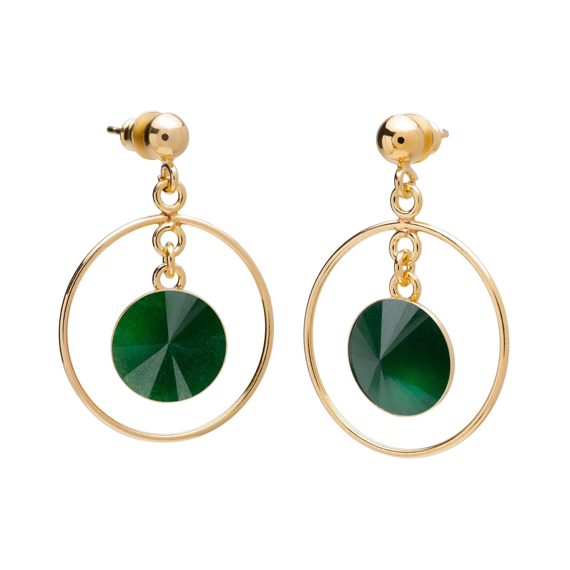 Okrągłe kolczyki z naturalnym kamieniem, jadeit ciemno zielony, srebro 925
