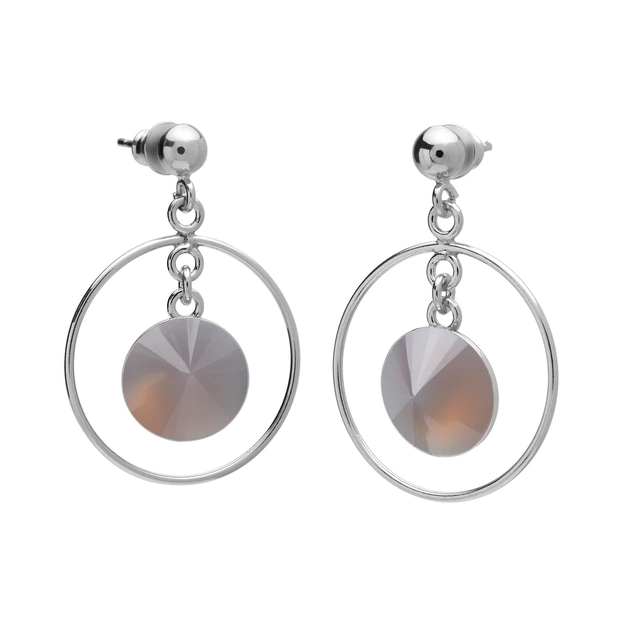 Okrągłe kolczyki z naturalnym kamieniem, kwarc dymiony, srebro 925