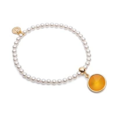 Elástico perla pulsera con piedra natural plata 925