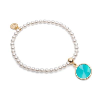 Elastic pearl bracelet with natural stone , sterling silver 925