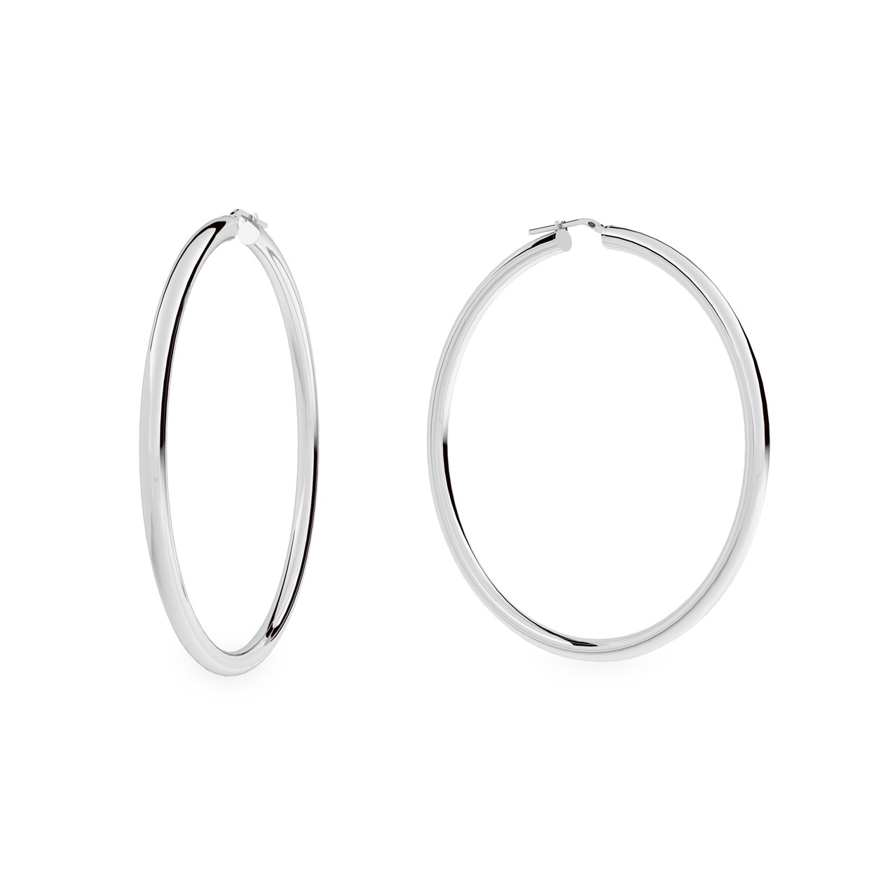 Round hoop earrings 8 cm with clasp, silver 925