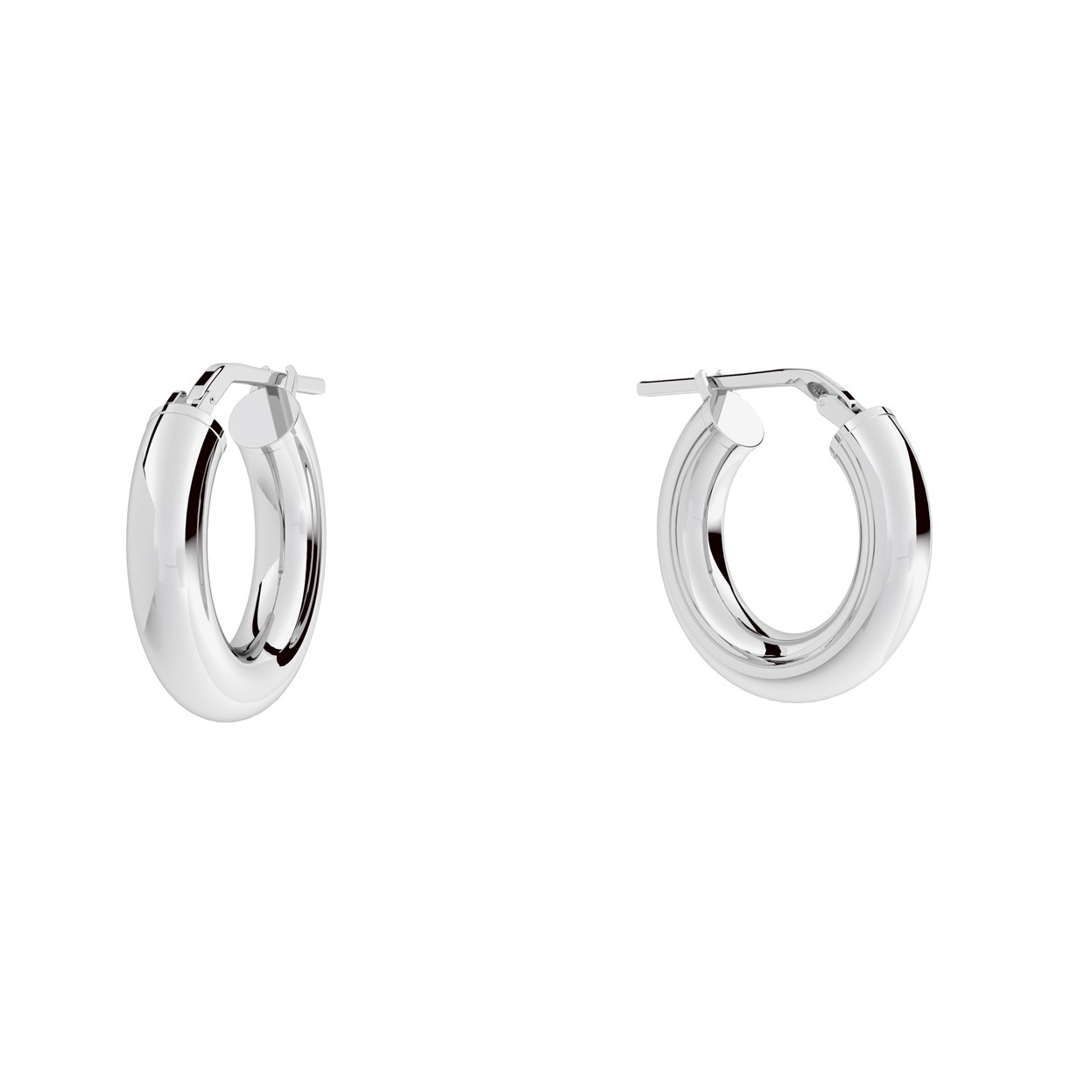 Round hoop earrings 2,5 cm with clasp, silver 925