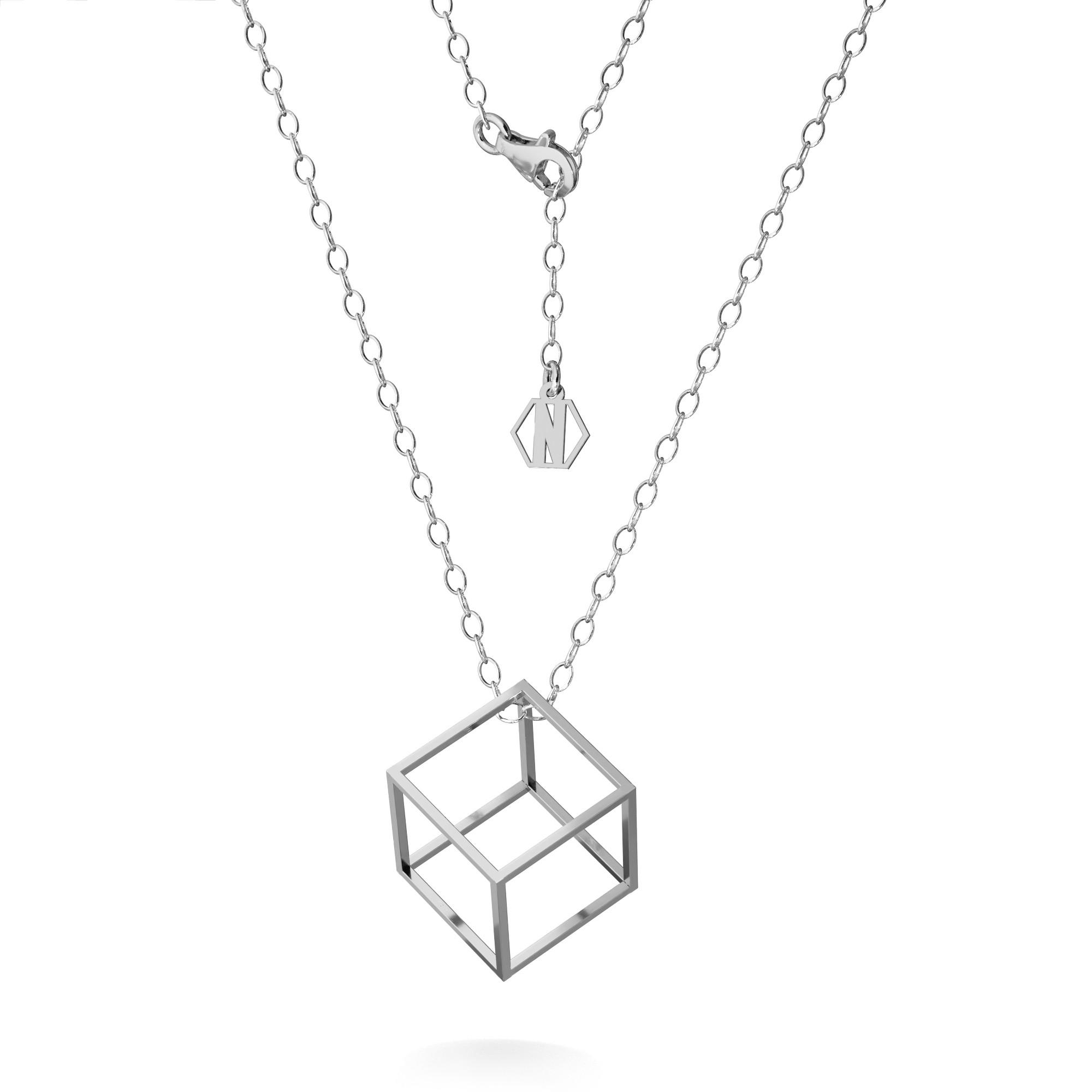 Srebrny naszyjnik kostka 3D celebrytka srebro 925, Nikki Lund