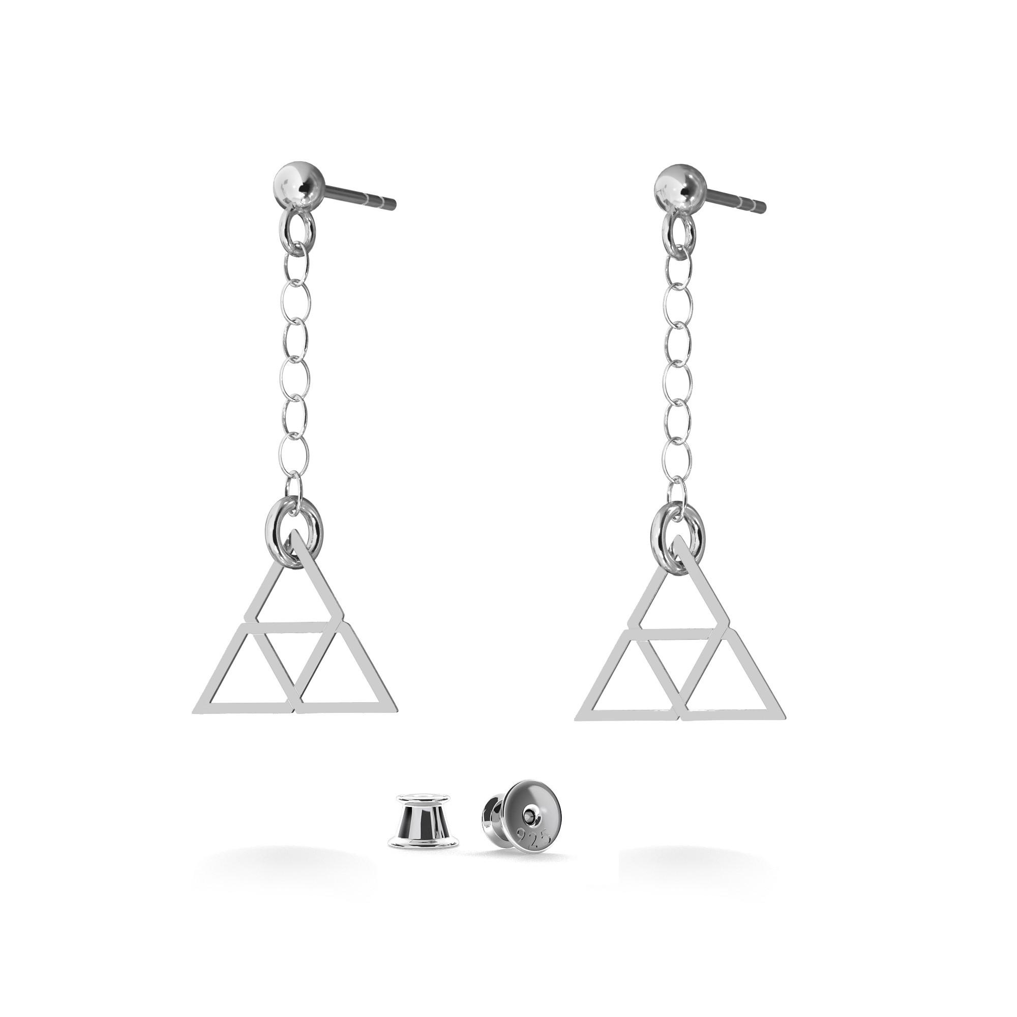 Wiszace kolczyki trójkąty srebro 925, Nikki Lund