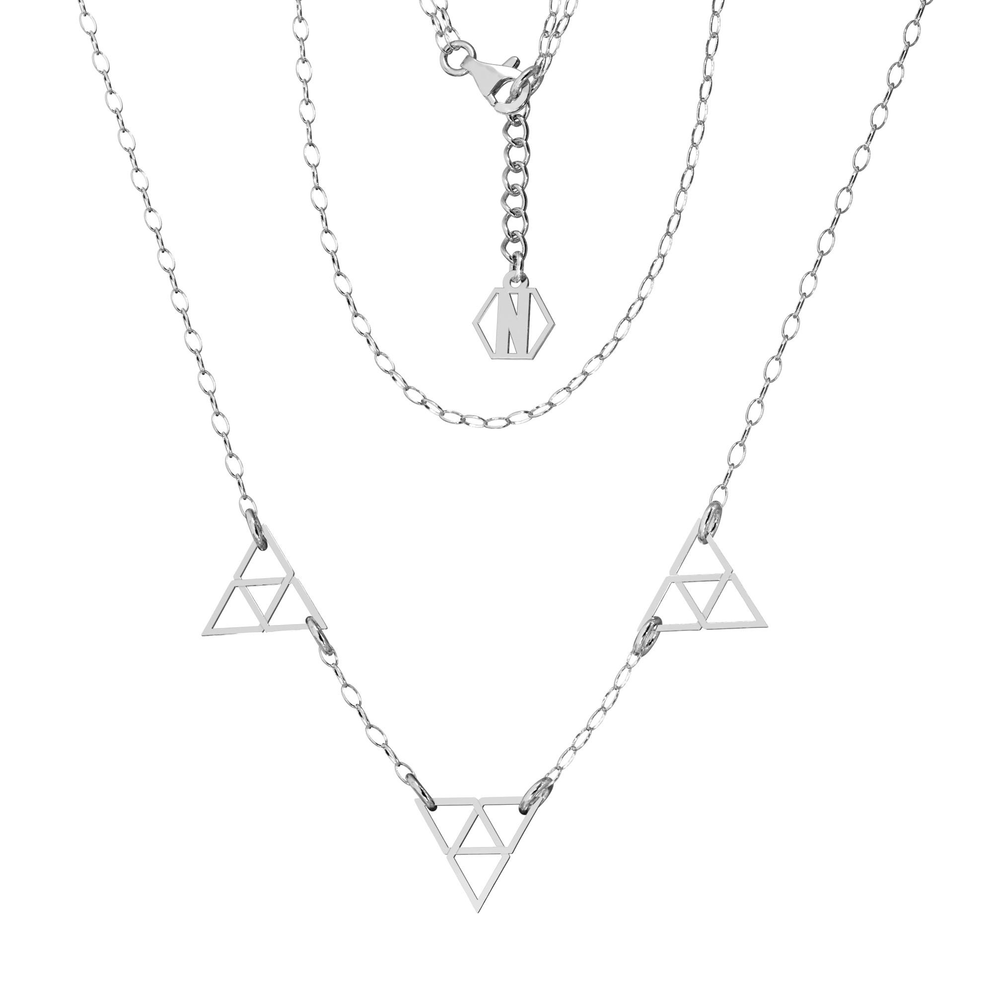 Srebrny naszyjnik trójkąty srebro 925, Nikki Lund