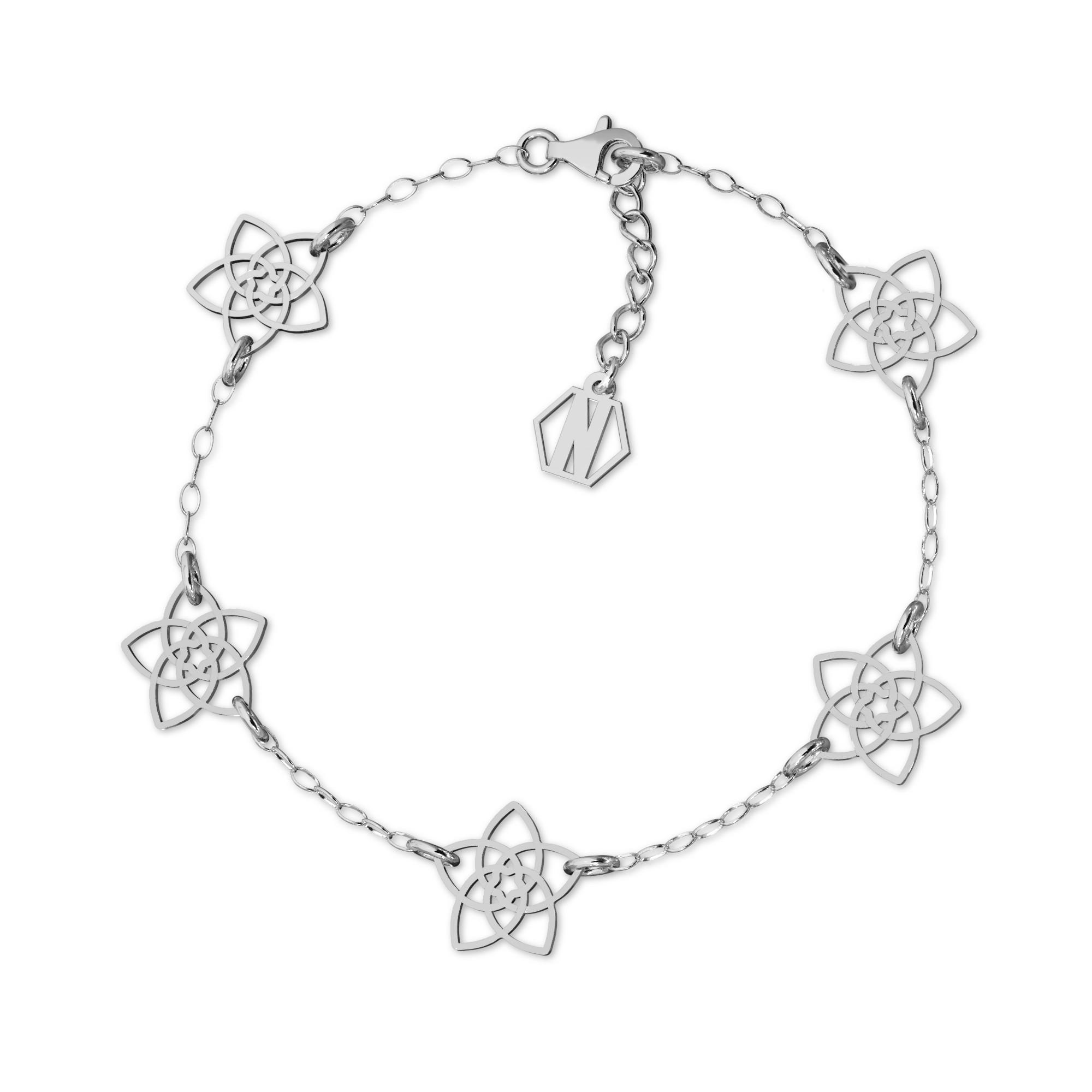 Srebrna bransoletka kwiatki srebro 925, Nikki Lund