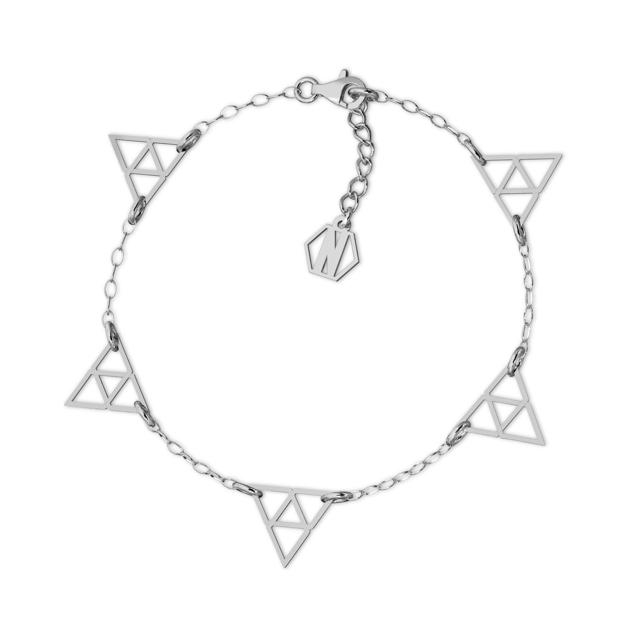 Srebrna bransoletka trójkąty srebro 925, Nikki Lund