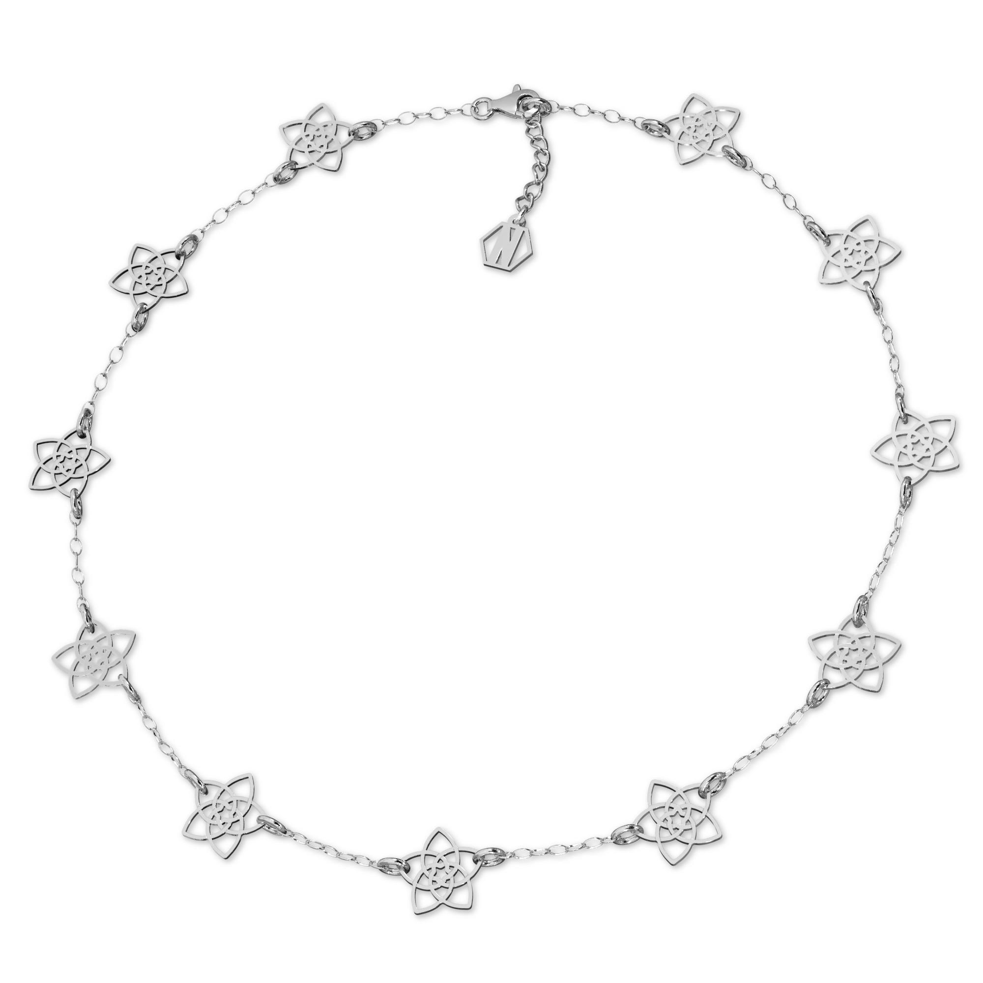 Srebrny naszyjnik kwiatki celebrytka srebro 925, Nikki Lund