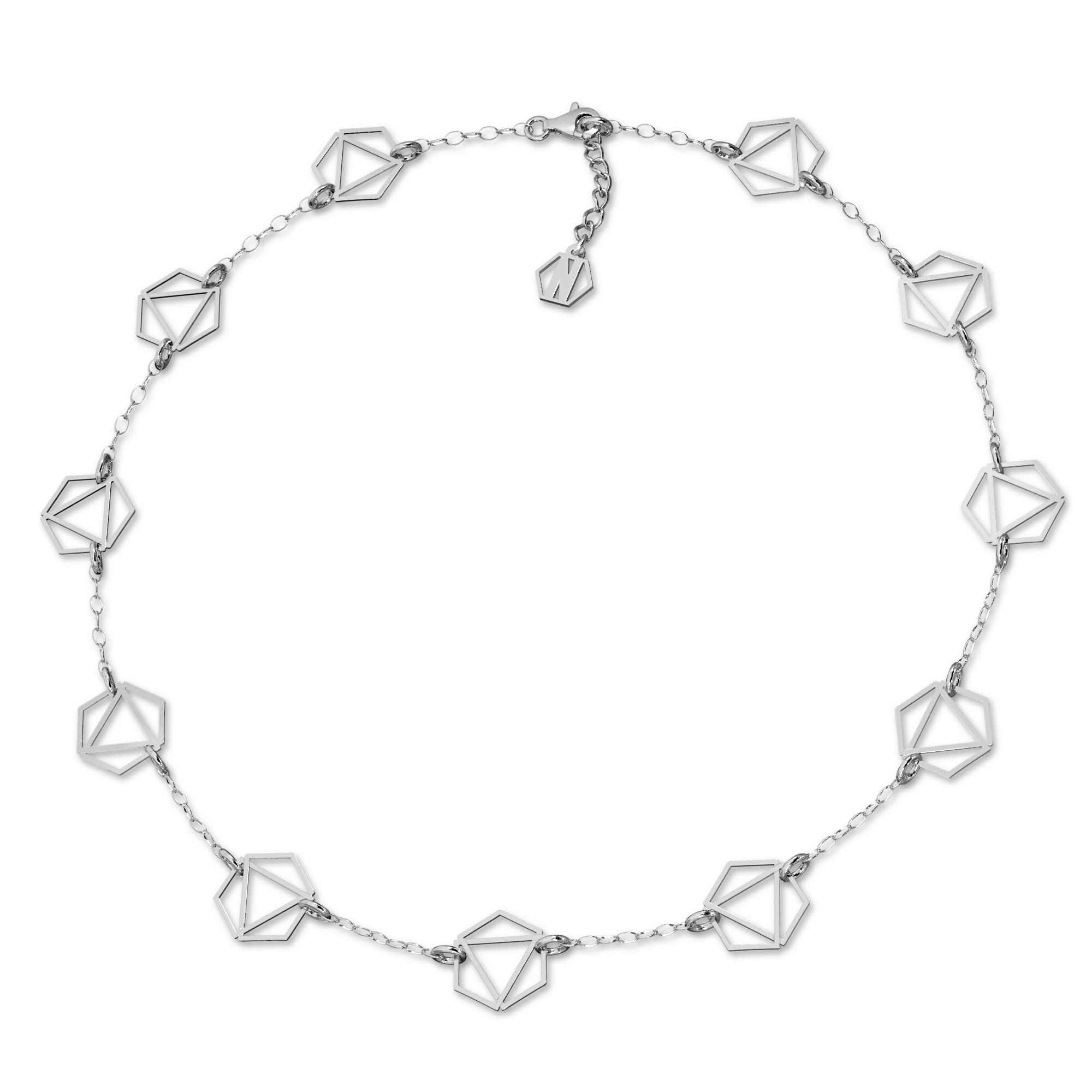 Srebrny naszyjnik sześciokąty celebrytka srebro 925, Nikki Lund