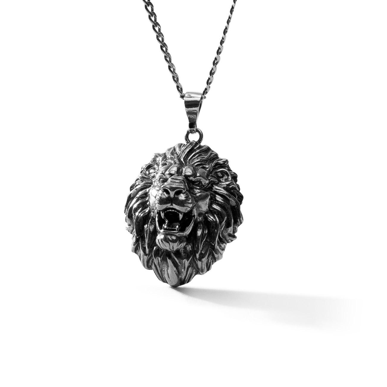 Srebrny naszyjnik lew, srebro 925