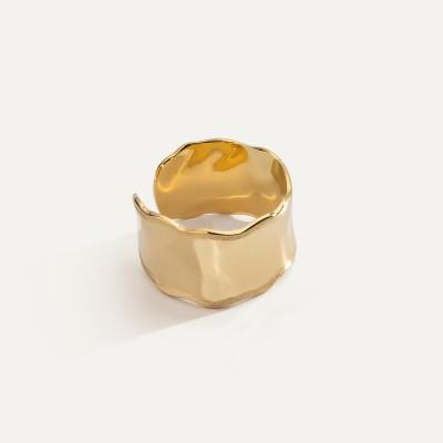 Szeroki pierścionek z gniecionej blachy, srebro 925