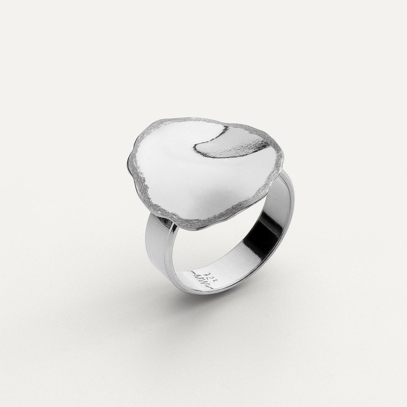 Pierścionek z gniecioną blachą, srebro 925