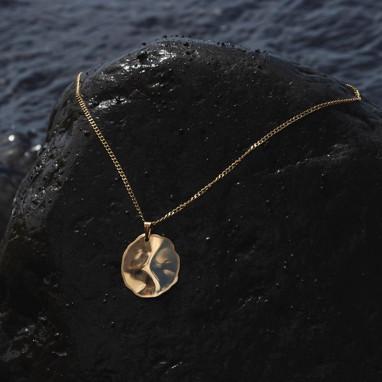 Circle wavy necklace, sterling silver 925