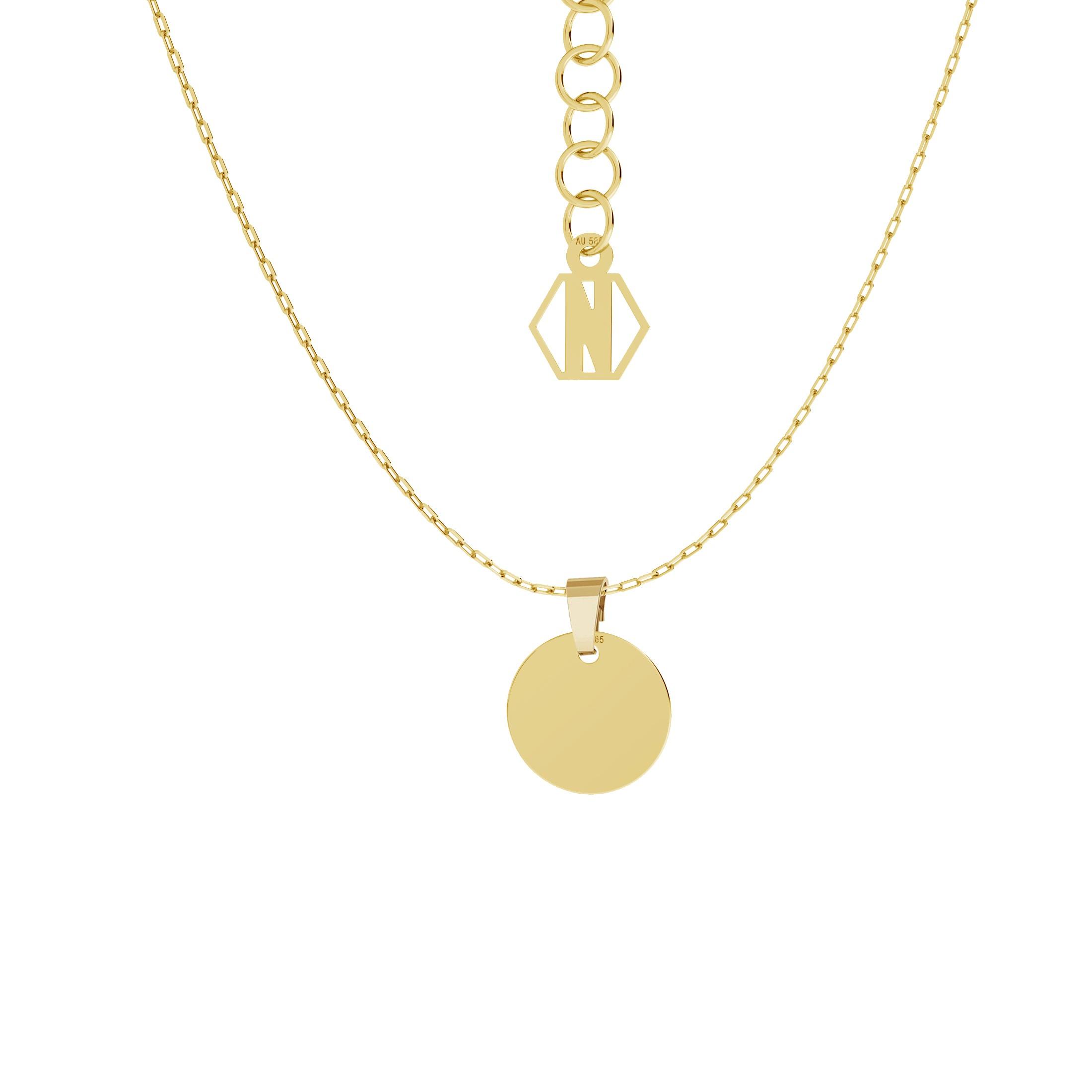 Złoty naszyjnik celebrytka koło, grawer, AU 585, Nikki Lund