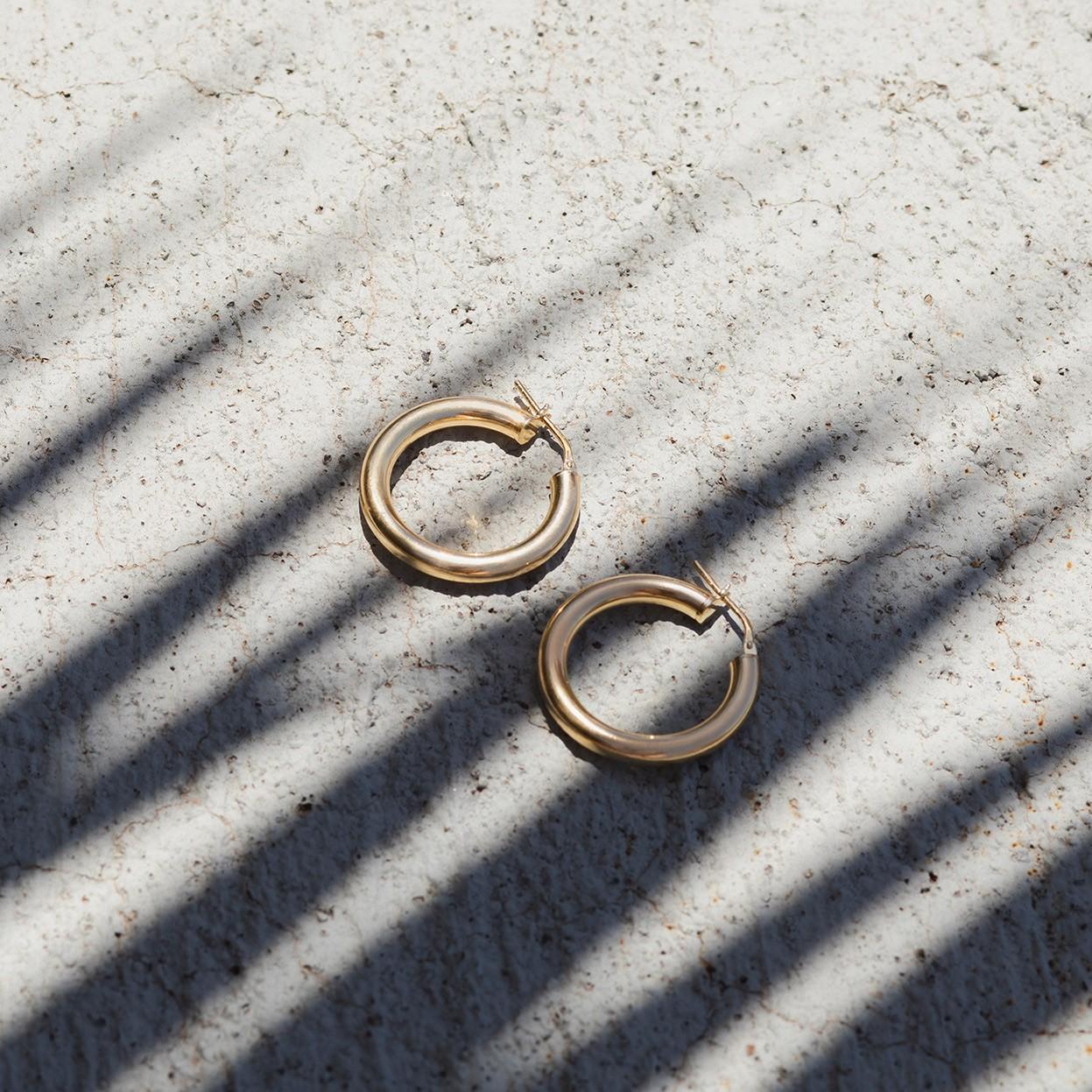 Srebrne kolczyki koła 3,5 cm z zapięciem, srebro 925