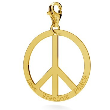 CHARM 126, PEACE SYMBOL WITH ENGRAVE, STERLING SILVER (925) RHODIUM OR GOLD PLATED