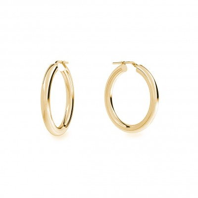Round hoop earrings 4 cm with clasp, silver 925