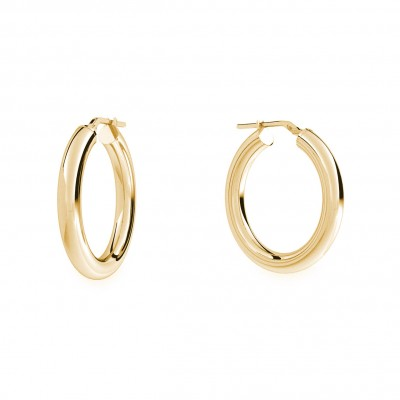 Round hoop earrings 3,5 cm with clasp, silver 925