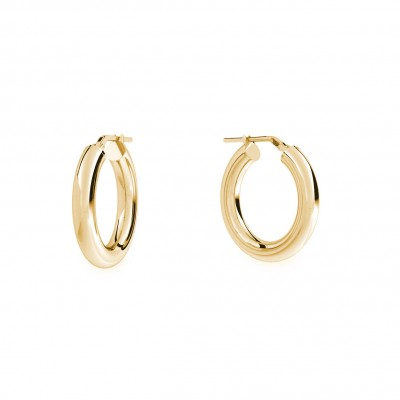 Round hoop earrings 3 cm with clasp, silver 925