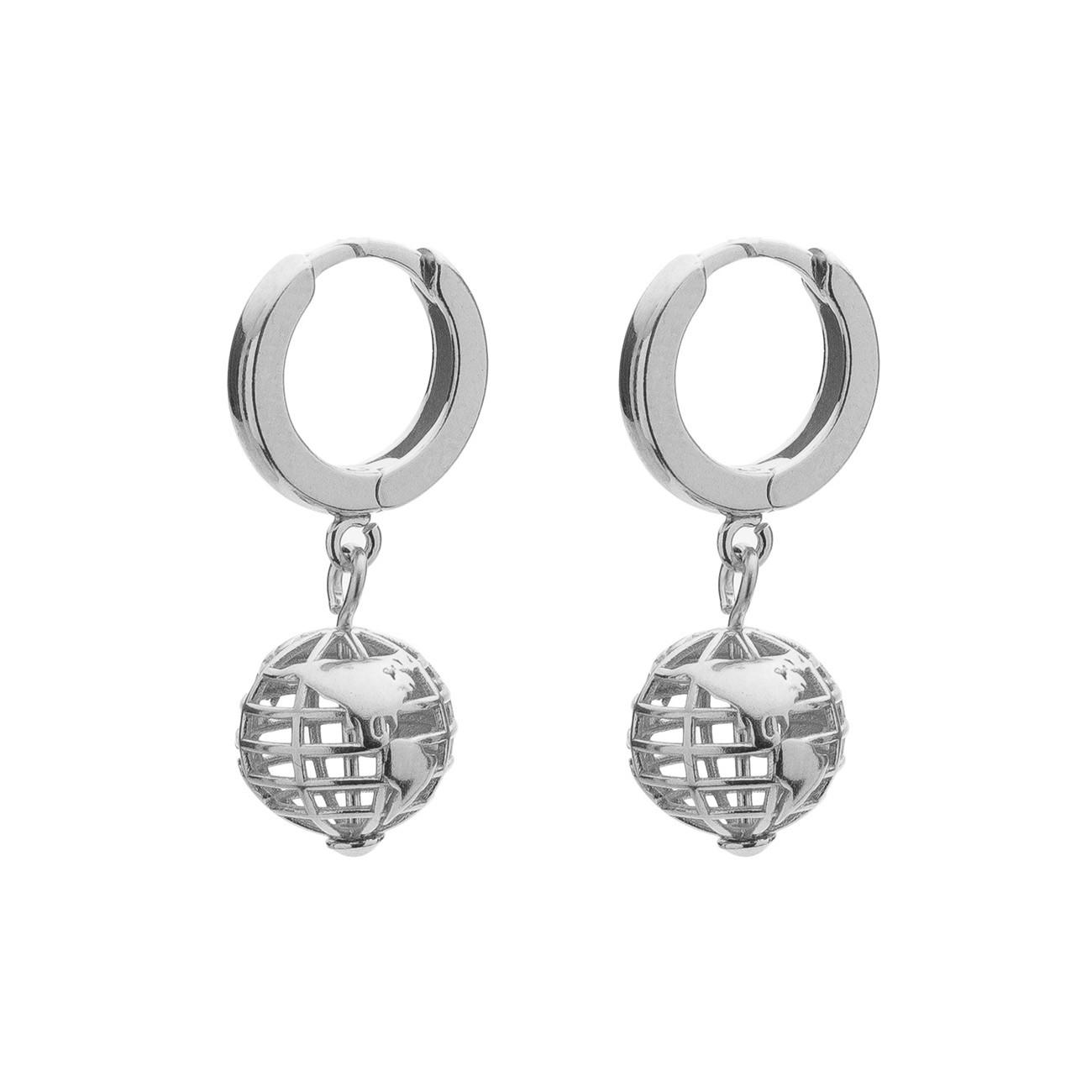 Planet earth earrings, sterling silver 925