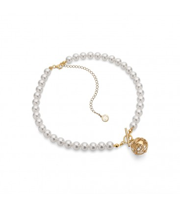 Pearls choker with planet earth pendant, sterling silver 925