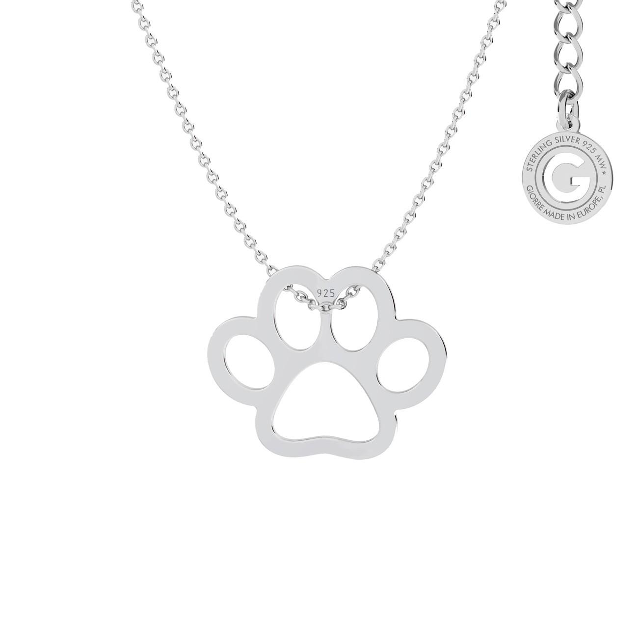 Srebrny naszyjnik psia łapa, srebro 925