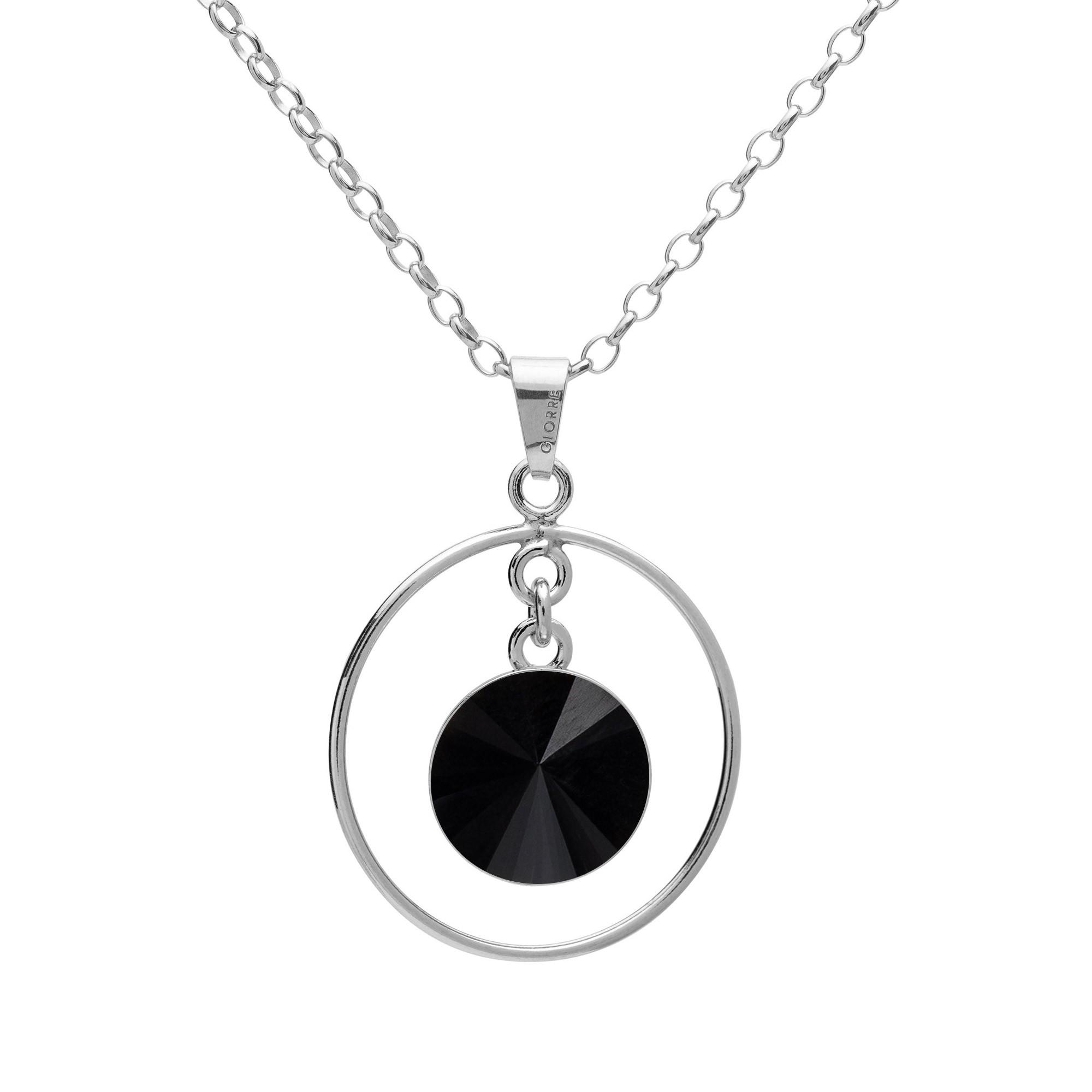 Okrągły naszyjnik z naturalnym ciemnym kamieniem - tygrysie oko, onyks, srebro 925