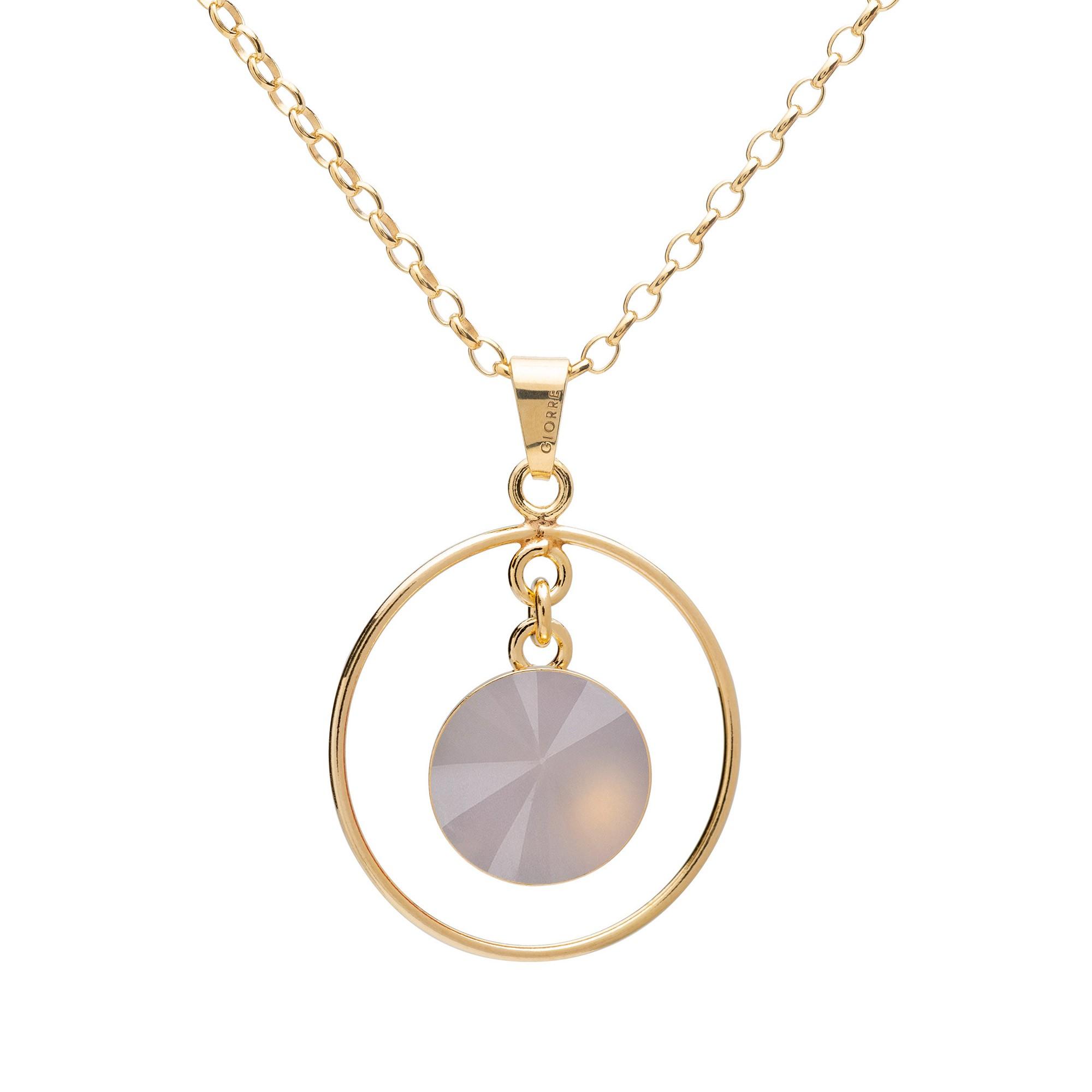 Okrągły naszyjnik z naturalnym kamieniem - kwarc, srebro 925