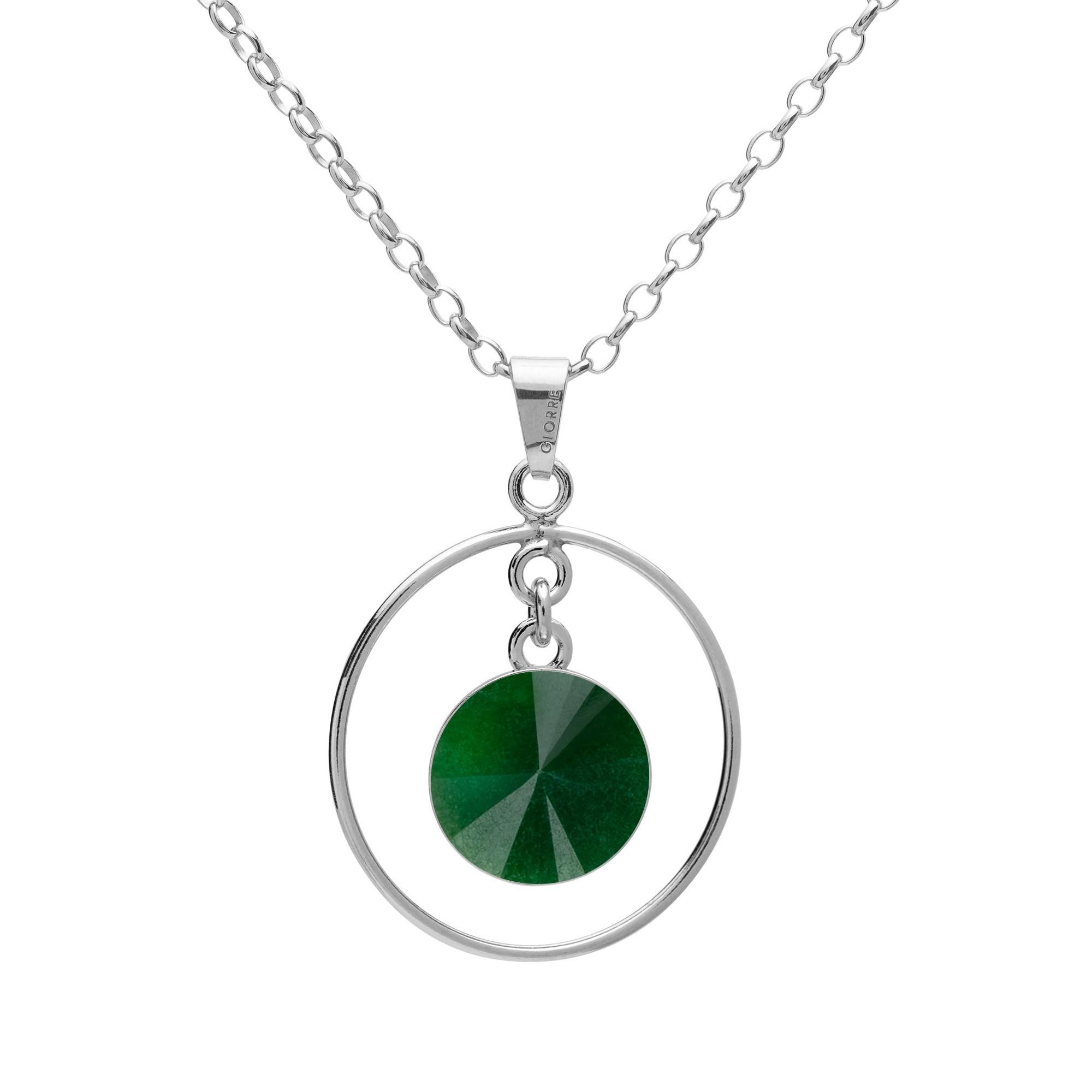 Okrągły naszyjnik z naturalnym kamieniem - jadeit ciemno zielony srebro 925