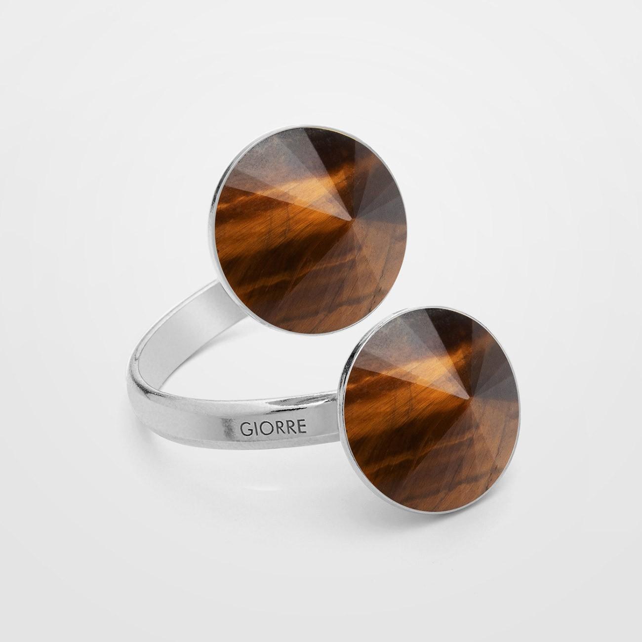 Pierścionek z dwoma ciemnymi kamieniami naturalnymi - tygrysie oko, onyx, srebro 925