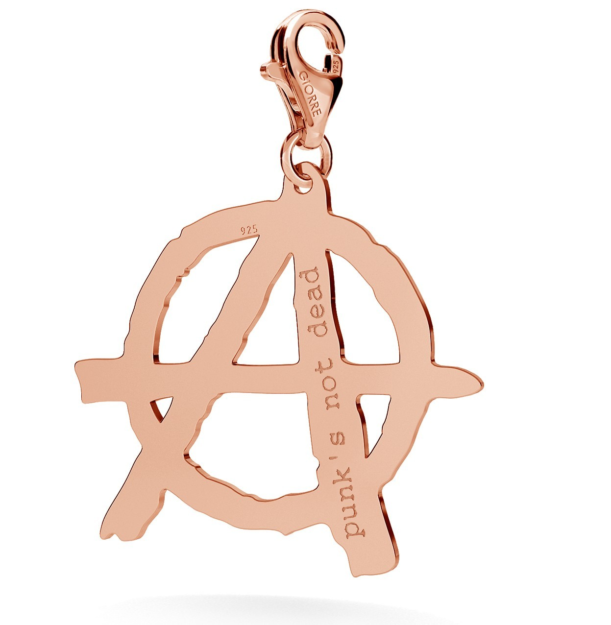 CHARM 135, ANARCHY SYMBOL WITH ENGRAVE, STERLING SILVER (925) RHODIUM OR GOLD PLATED