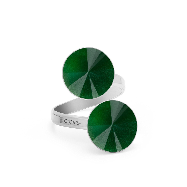 Pierścionek z dwoma naturalnymi kamieniami - jadeit, srebro 925