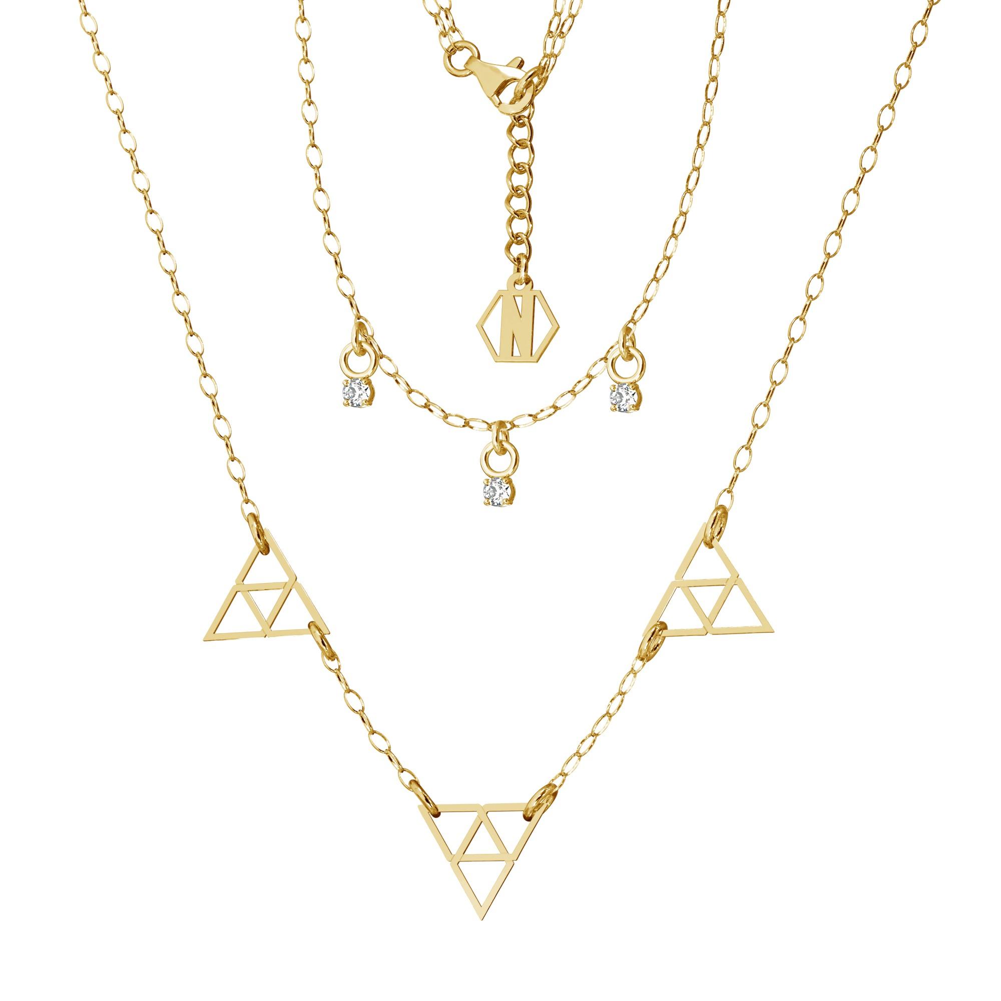 Srebrny podwójny naszyjnik z cyrkoniami trójkąty srebro 925, Nikki Lund