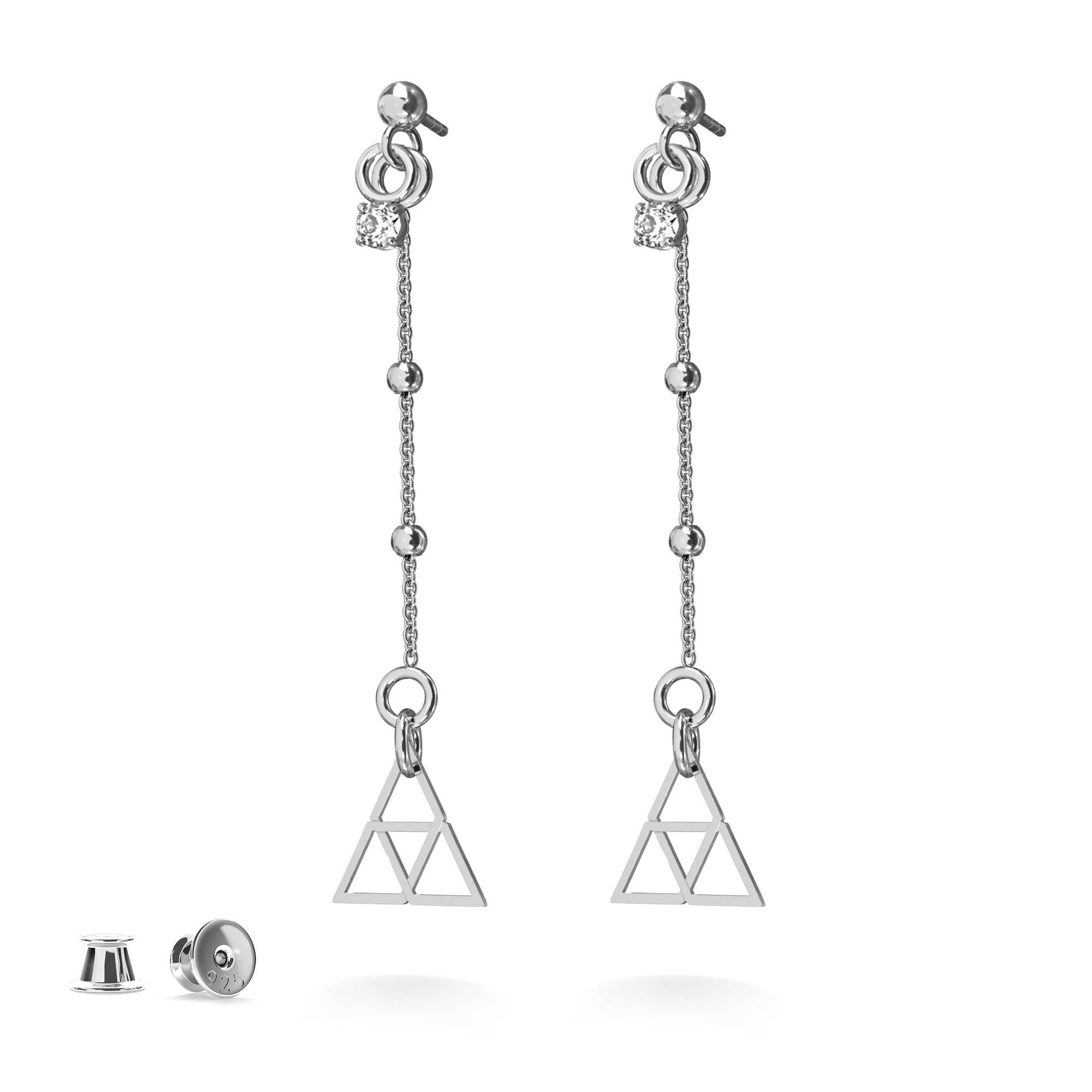 Wiszace kolczyki trójkąty z trójkątami srebro 925, Nikki Lund