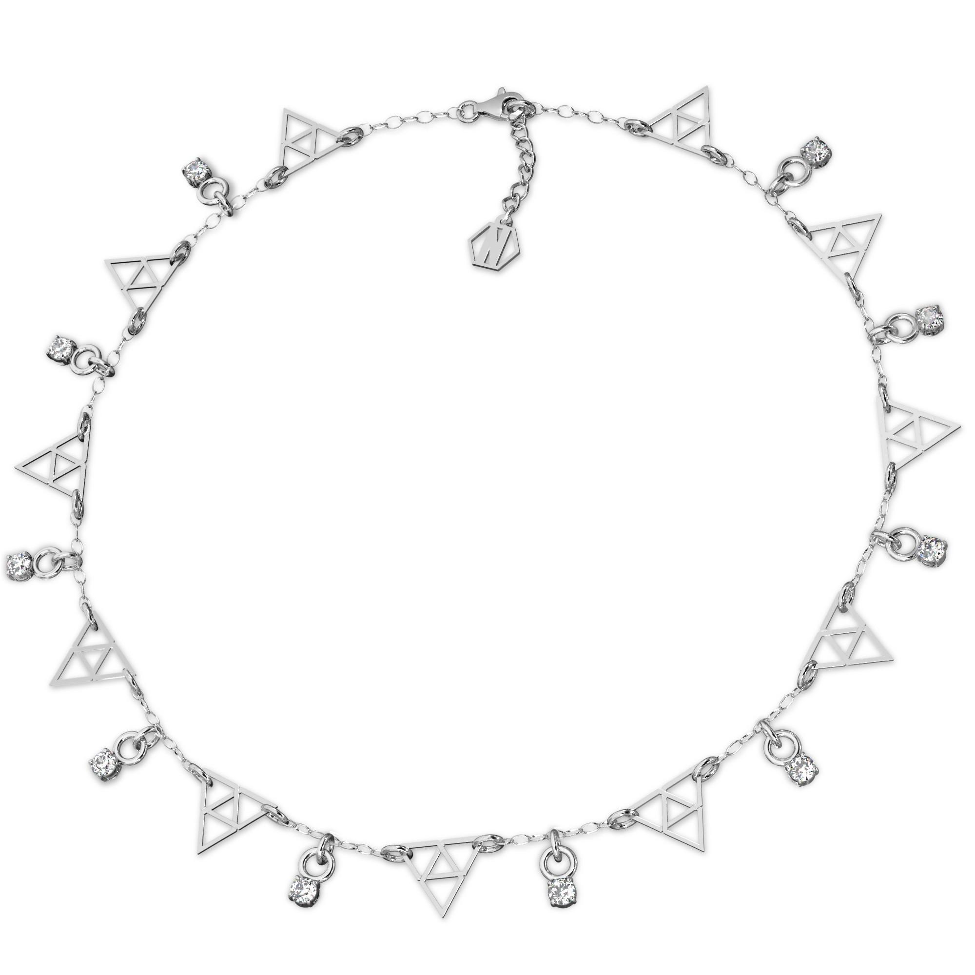 Srebrny choker trójkąty z cyrkoniami srebro 925, Nikki Lund