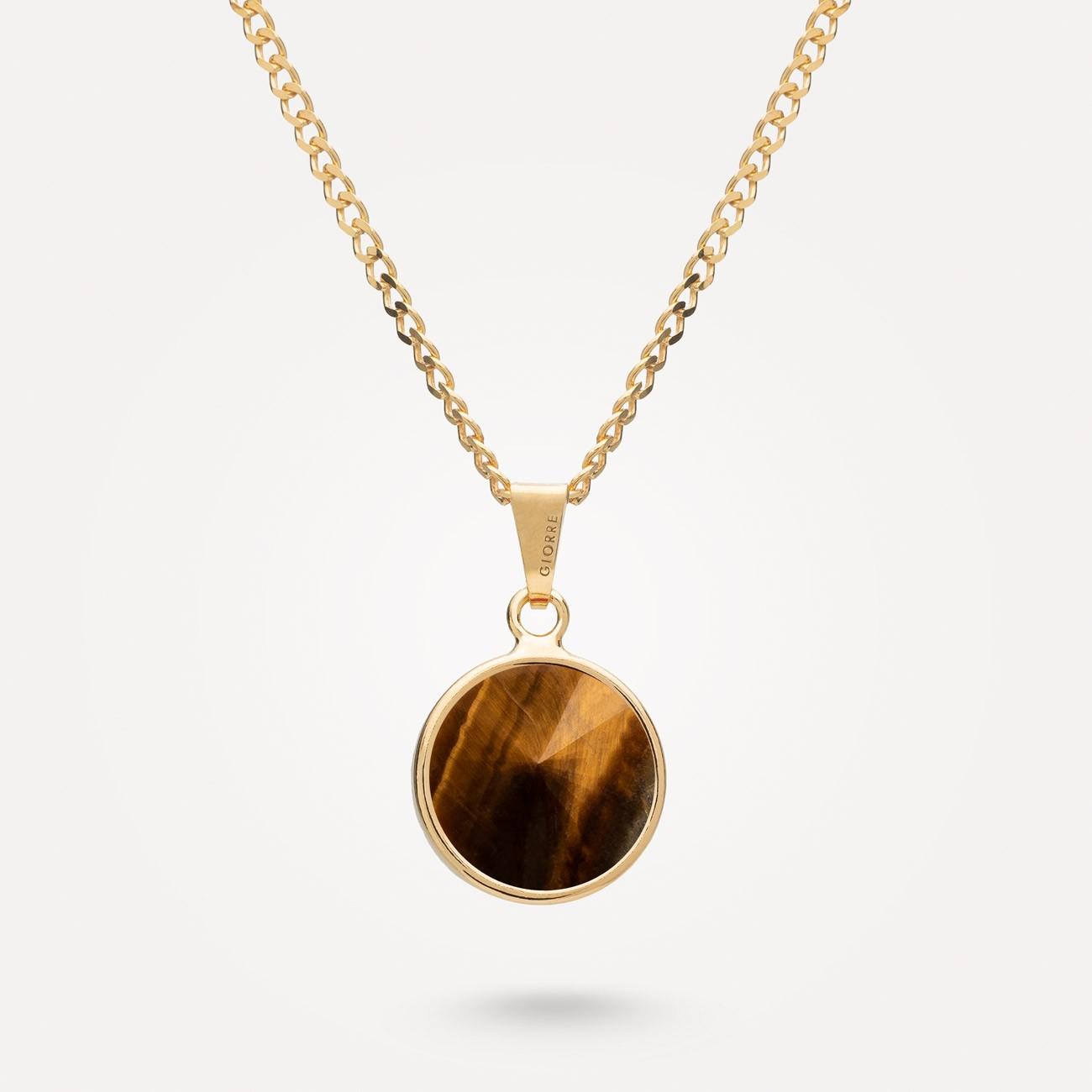 Srebrny naszyjnik z ciemnym naturalnym kamieniem, srebro 925
