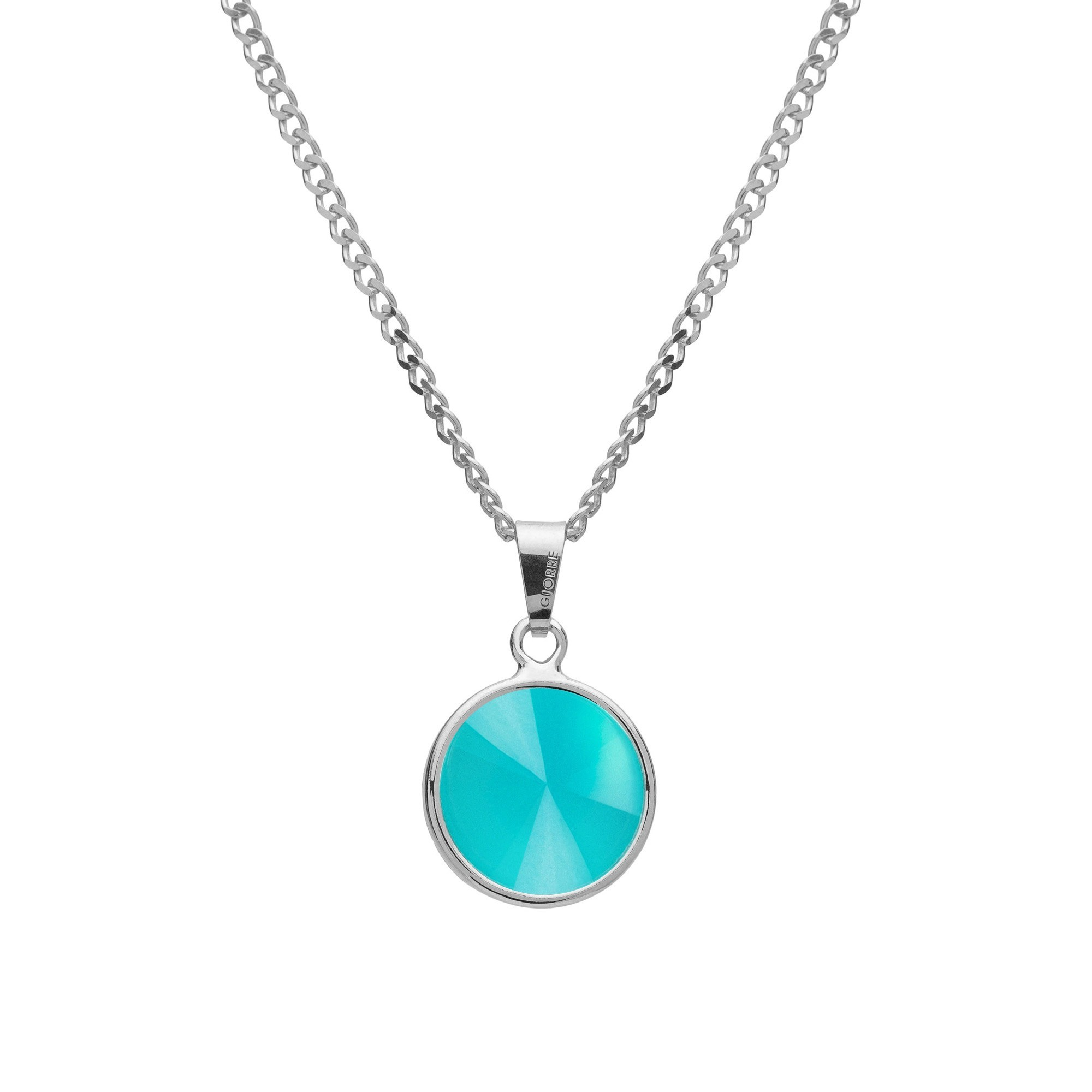 Necklace with natural stone, sterling silver 925