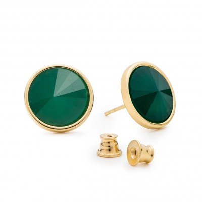 Earrings with round natural stone jadeite, 925