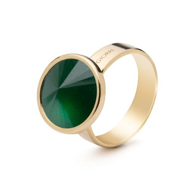 Ring with round natural stone jadeite, 925