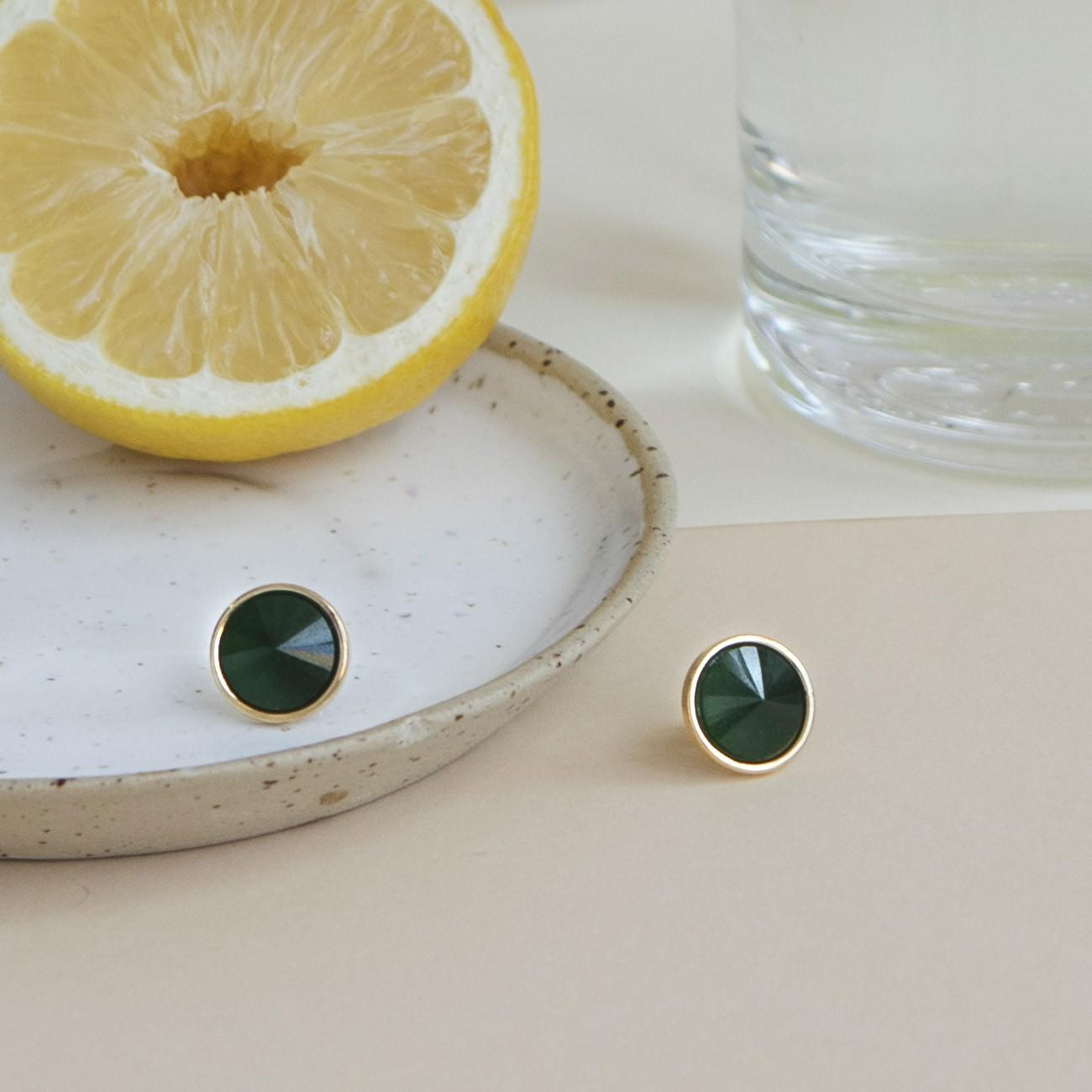 Srebrne kolczyki z jadeitem, srebro 925
