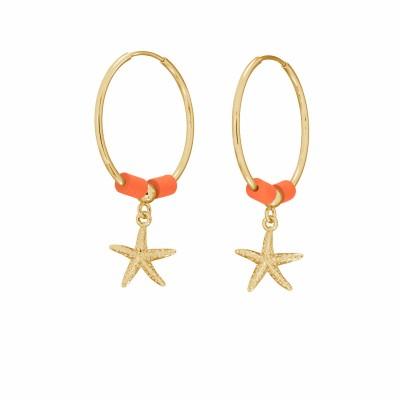 Starfish hoop earring, MON DÉFI sterling silver 925