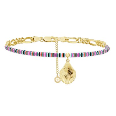 Colorful clay choker with shell, MON DÉFI, Silver 925