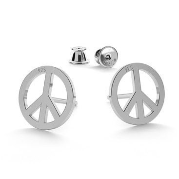 PEACE SYMBOL EARRINGS, STERLING SILVER (925) RHODIUM OR GOLD PLATED