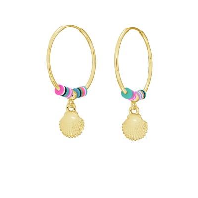 Shell hoop earring, MON DÉFI sterling silver 925