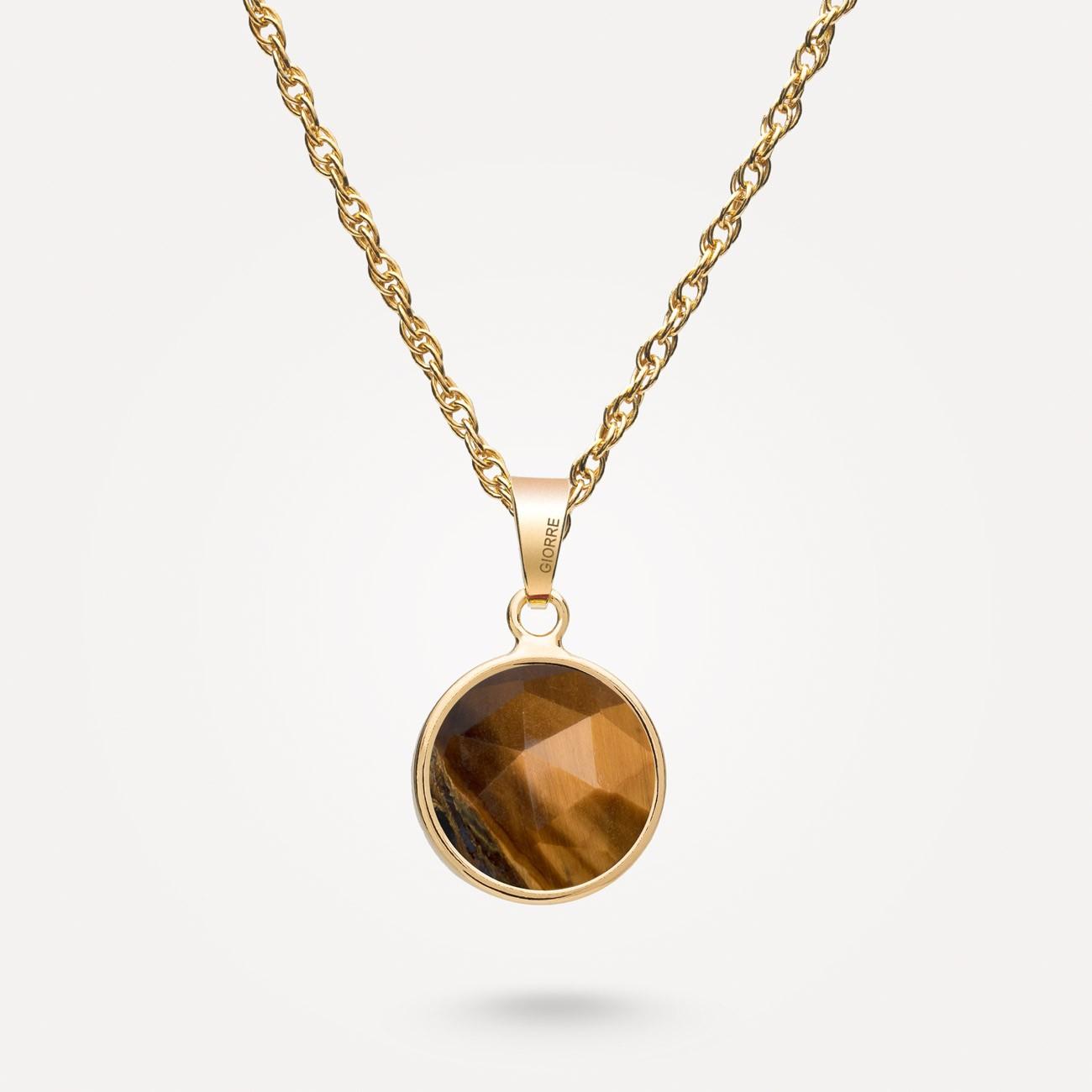 Srebrny naszyjnik z naturalnym kamieniem Gavbari - Rose Cut, srebro 925