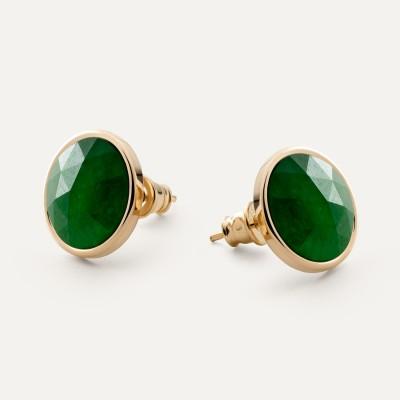 Earrings with round natural Gavbari - Rose Cut stone, 925