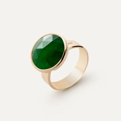 Ring with round natural Gavbari Rose Cut stone, 925